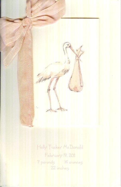 $32.00 Birth Announcement-Pink Stork