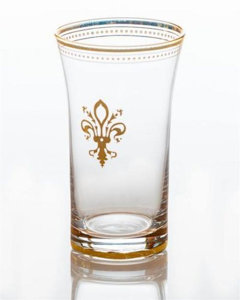 Glass with gold fleur de lis and trim collection with 1 products