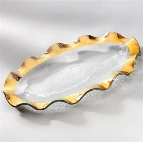 Pieces of Eight Exclusives   Ruffle Gold Large Oval Platter $305.00