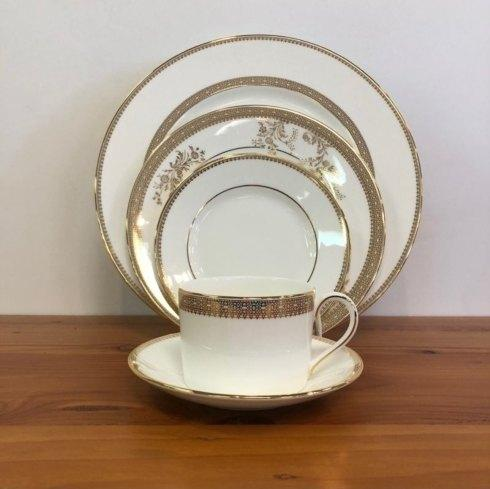 Pieces of Eight Exclusives   Vera Lace Gold by Wedgwood Five Piece Place Setting  $175.00