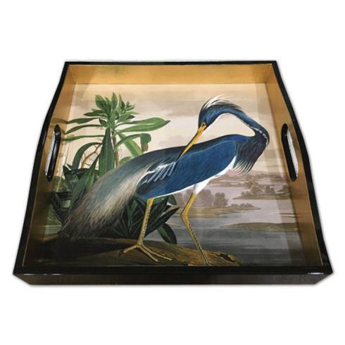 $135.00 Laquer Square Tray-Audubon Heron