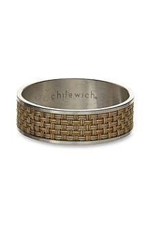 $9.50 Napkin Ring, Mini Basketweave Gold