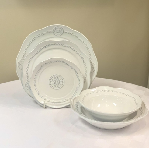 Pieces of Eight Exclusives   Villa Beleza Vintage White by Skyros Designs 5 piece place setting $174.00