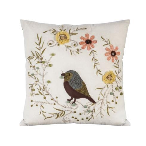 $34.95 Pillow-Bird with Flowers