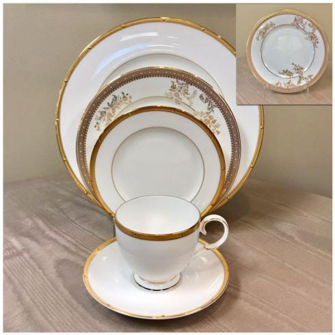 $116.00 Rochelle Gold with Vera Lace Gold Five Piece Place Setting