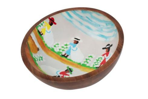 Pieces of Eight Exclusives   Mango Wood Bowl-Cotton Picking $130.00