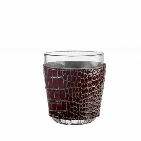 $54.00 Pair of Leather Wrapped Double Old Fashioned Glasses