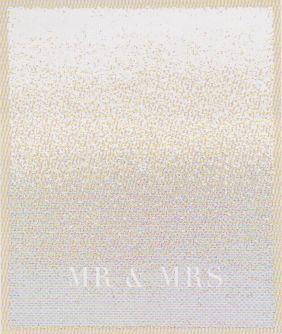 $198.00 Mr & Mrs Glitter Gold Throw