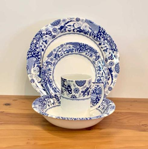 Pieces of Eight Exclusives   Blue Italian Brocato 4 Piece Place Setting $65.00