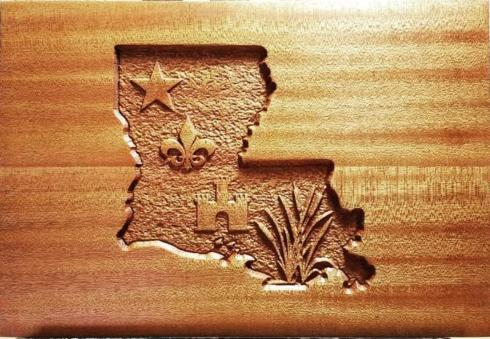 Pieces of Eight Exclusives   Cutting Board-Louisiana/Acadian Flag $40.00