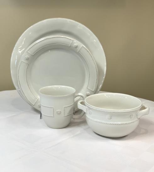 Pieces of Eight Exclusives   Puro White w/ Panel Bead and Berry & Thread by Juliska Four Piece Place Setting $146.00