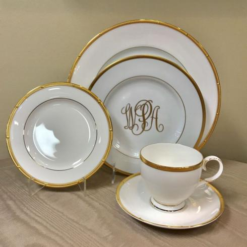 Pieces of Eight Exclusives   Rochelle Gold with Ultra White Signature Gold 5 Piece Place Setting $142.00