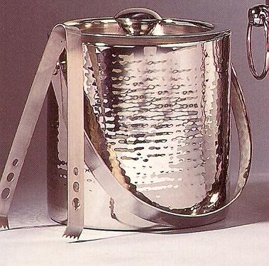 $49.50 Hammered Ice Bucket/Tongs