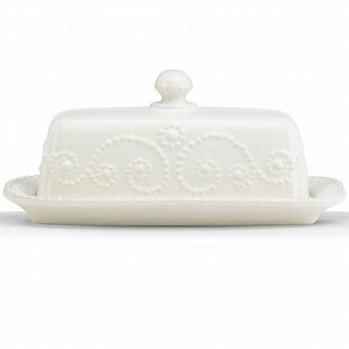 French Perle White Butter Dish collection with 1 products