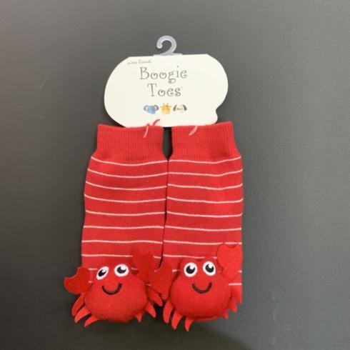 $13.95 Boogie Toes Socks-Red Crabby