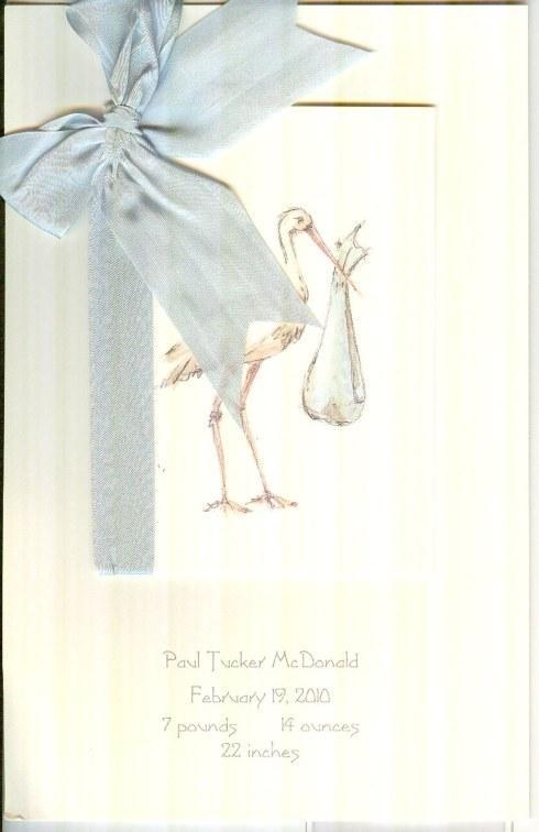 $32.00 Birth Announcement-Blue Stork