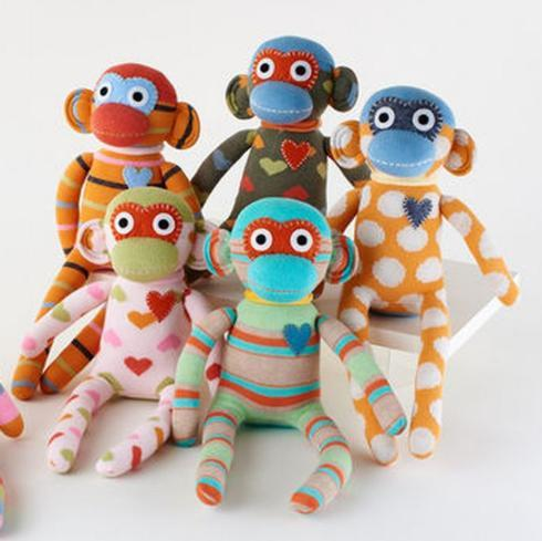 Sock Monkey with Hearts-Asst.