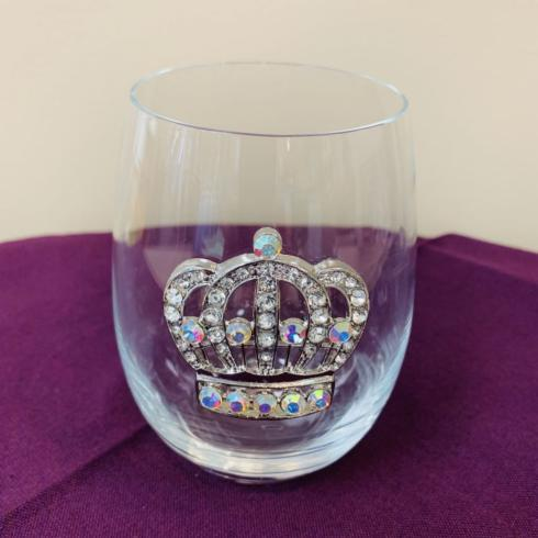 Pieces of Eight Exclusives Louisiana Favorites Mardi Gras Large Crown Stemless Wine Glass $23.95