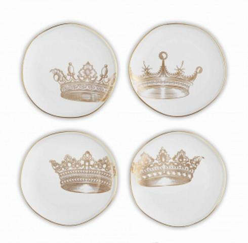 Pieces of Eight Exclusives   Set of 4 Crown Appetizer Plates $49.50