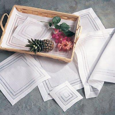 Pieces of Eight Exclusives  Napkins & Placemats Napkin-Hemstitched White $13.95