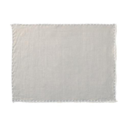 Pieces of Eight Exclusives   Placemat-Whipstitch Grey $20.00