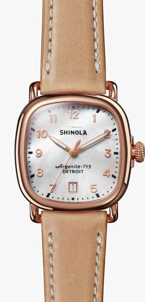 $725.00 Guardian 36mm Pearl Dial / Natural Leather Strap / Rose Gold