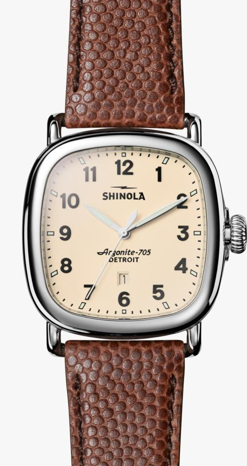 $675.00 Guardian 41.5mm Cream Dial / Brown Football Leather Strap
