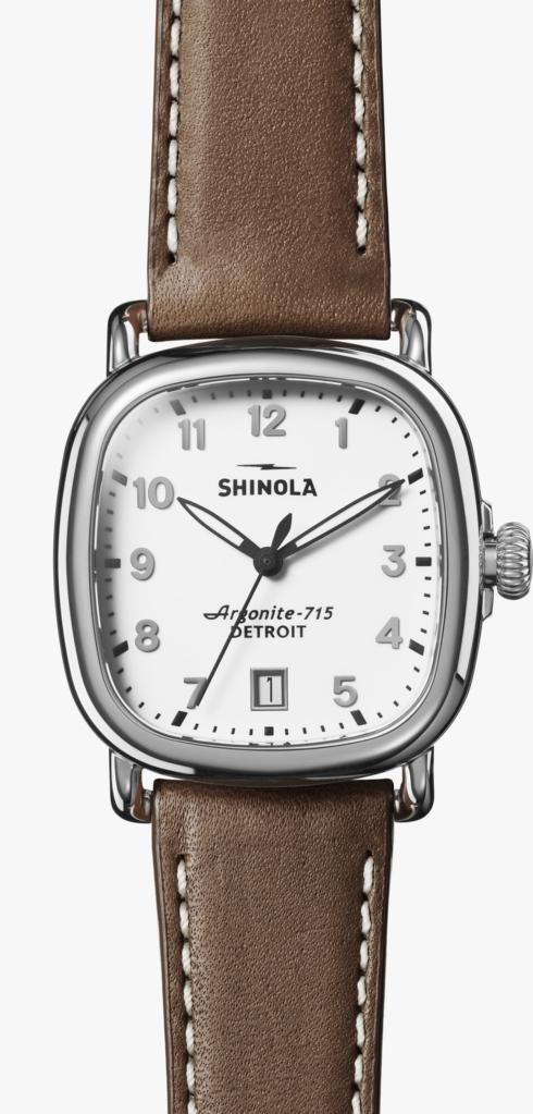 $675.00 Guardian 36mm Milky White Dial / Dark Brown Leather Strap