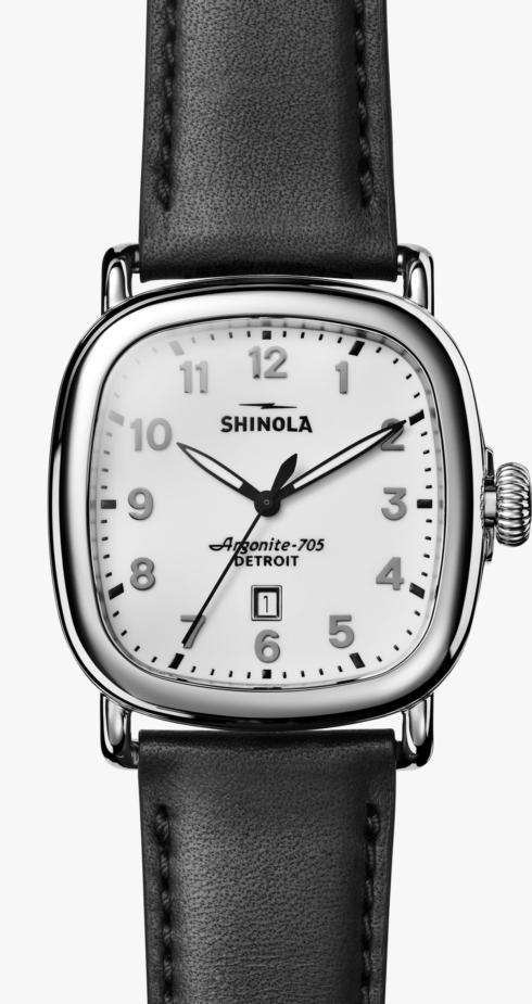 $675.00 Guardian 41.5mm Milky White Dial / Black Leather Strap