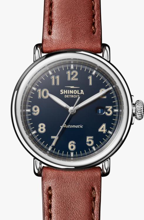 $1,095.00 Runwell Automatic 45mm Dark Cognac Strap & Midnight Blue Glossy Dial