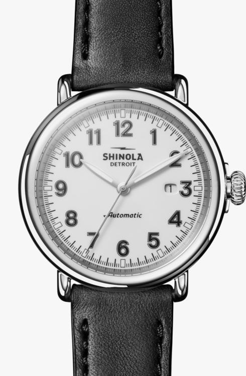 $1,095.00 Runwell Automatic 44 mm White Glossy Dial / Black Leather Strap