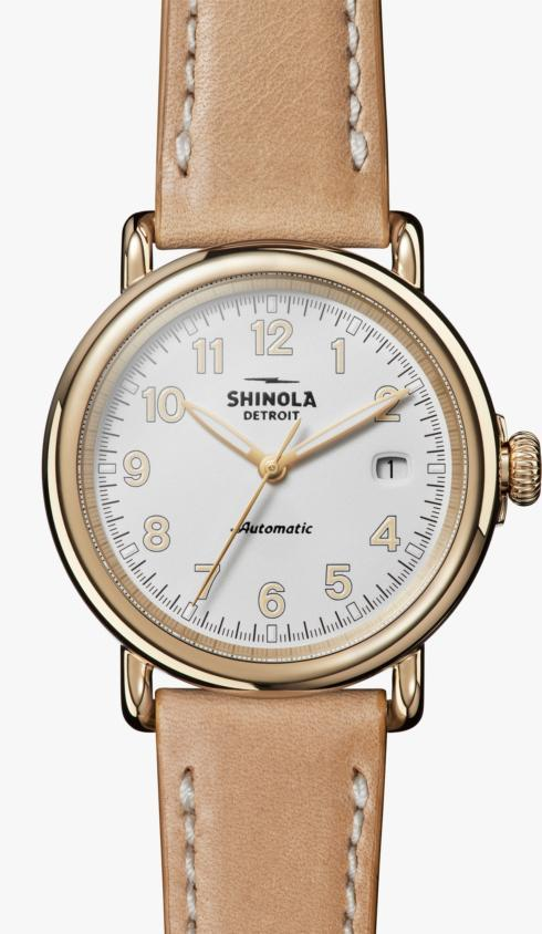 $1,195.00 Runwell Automatic 39.5 mm White Matte Dial / Natural Leather Strap