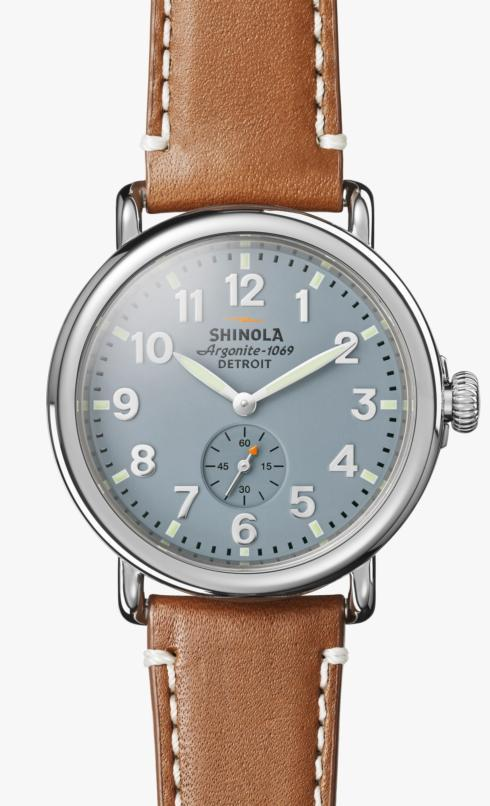 $550.00 Runwell 41 mm Grey Blue Dial / Brown Leather Strap