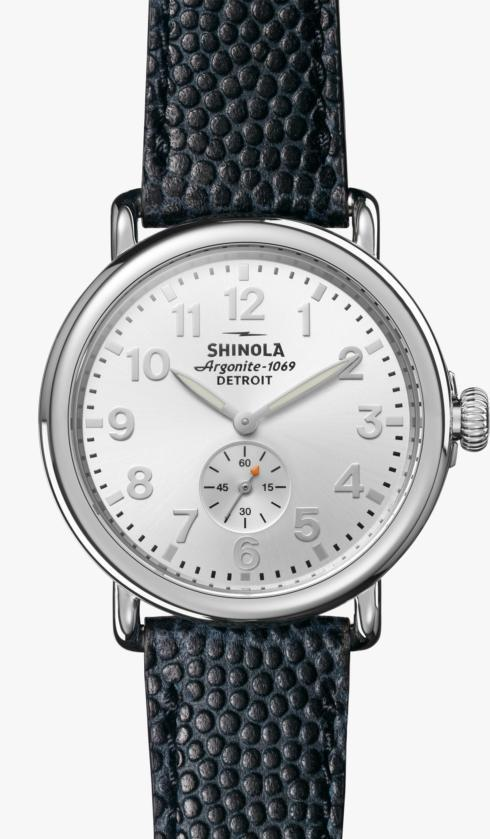 $550.00 Runwell 41mm Silver Dial / Navy Football Leather Strap