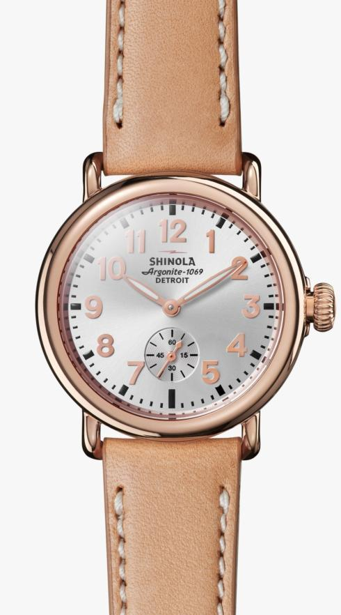 $600.00 Runwell 36mm Silver Dial / Natural Leather Strap / Rose Gold Plating