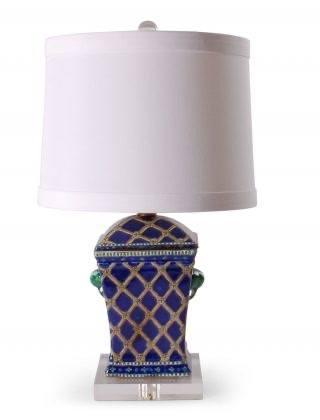 "$350.00 20"" Rect. Lamp W/Blue Rope Design"