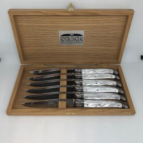 $800.00 Pearl White Goyon Steak Knives (6pc)