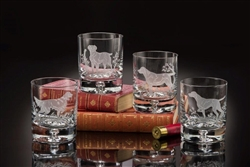 $179.00 Gun Dogs Old Fashion Glasses (Set of 4)