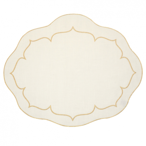 Skyros Designs  Linho Placemats Oval Ivory with Gold Placemats (Set of 4) $88.00