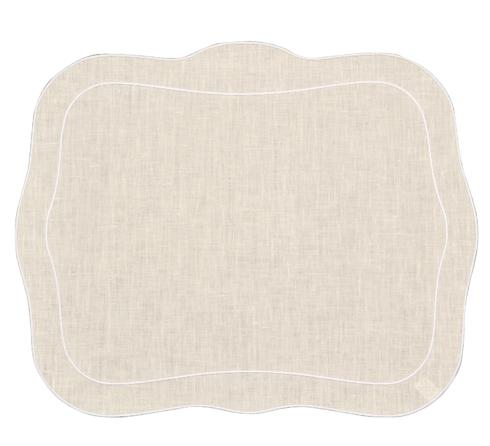 Skyros Designs  Linho Placemats Set of 4 Placemats Ivory with White Placemats $88.00