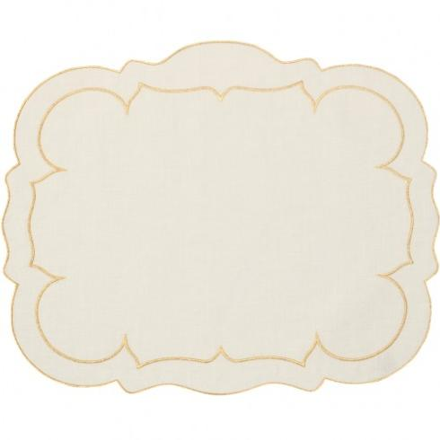 Skyros Designs  Linho Placemats Set of 4 Rectangle Ivory with Gold Placemats $88.00