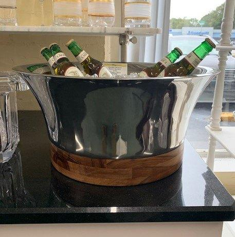 Provence Exclusives  Party Bucket with Wooden Base Double Walled Satinless Steel Beverage Bucket $185.00