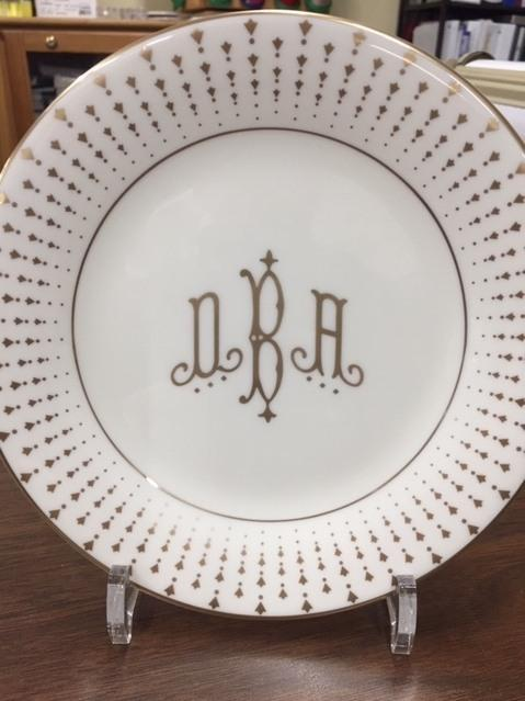 Pickard Monogram   Constallation Gold Salad Plate with Halo Home Mono $65.00
