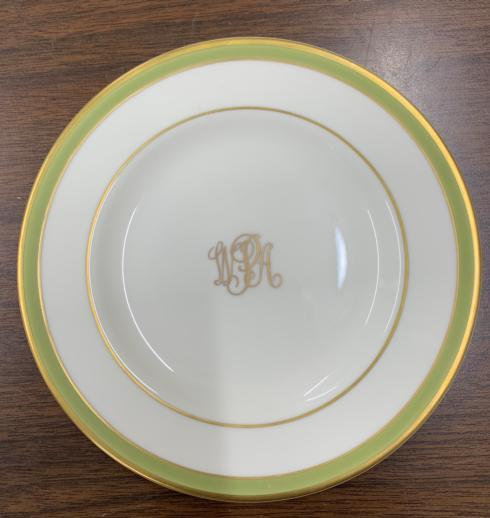 $145.00 Signature Charger with Gold and Green Band and Monogram