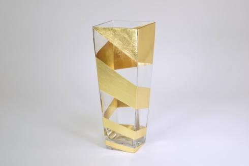 $115.00 Gold Slash Tall Vase 12""