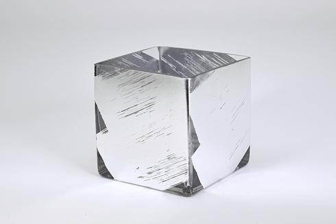 $35.00 3 inch Cube Vase - Silver Slash