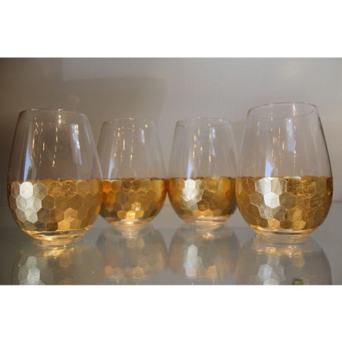 Zodax  Glasses Fez Cut Stemless Gold Leaf Wine Glass $16.00