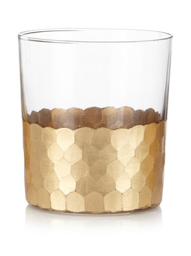 Zodax  Glasses Fez Cut Glass Gold Leaf Tumbler $16.00