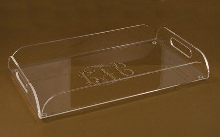 $46.00 Acrylic Serving Tray with Handles and Monogram