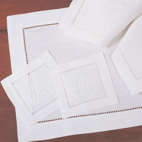 Provence Exclusives   White Hemstitch Placemats and Napkins $65.00